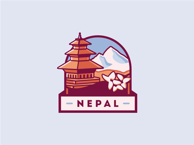 Icon Concept [Final Version] flower mountain emblem badge lokta pagoda mt everest nepal icon brassai