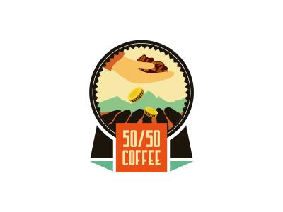 50/50 Coffee adline branding brassai szende logo design coffee organic ecuador export emblem