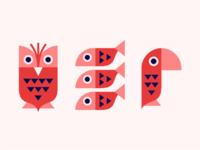 Owl fish parrot