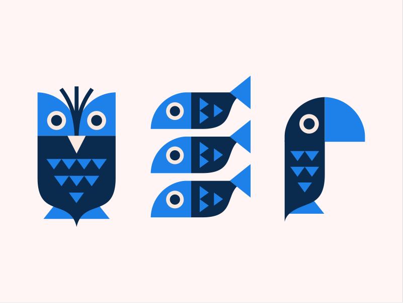 Owl Fish Parrot [illustration] nature bird parrot fish animal print owl geometric