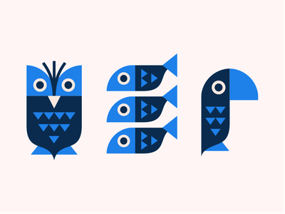 Owl Fish Parrot [illustration] nature bird parrot fish animal print owl geometric