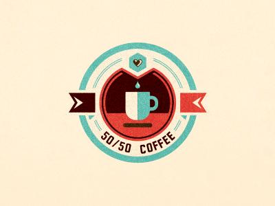 50/50 Coffee adline branding brassai szende logo design coffee organic ecuador export heart emblem badge