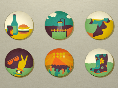 Summer Icons/Festivals adline brassai icon icons summer fun festival tent music peace sun clouds stage beer shower design icon design icon designer badge