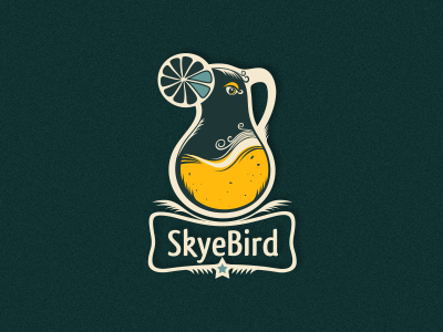 Skyebird craft made logo designer adline brassai szende logo juice bird jug fruit organic healthy local quality inventive food drink drinks gourmet orange
