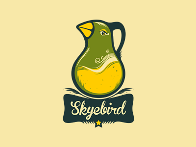 Skyebird (the final version) adline branding logo illustration bird fruit vegetable vegetables healthy juice salad green local orange lemon peas radish logo design logo designer