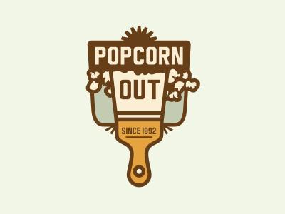 Popcorn Out #2 adline brassai design logo popcorn ceiling spatula branding emblem out