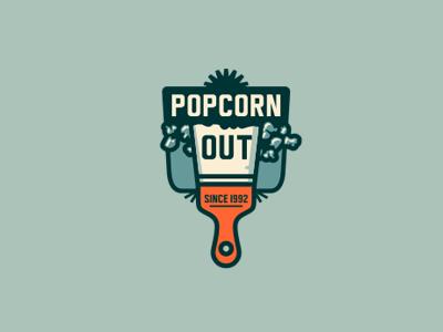 Popcorn Out adline brassai design logo popcorn ceiling spatula branding emblem out