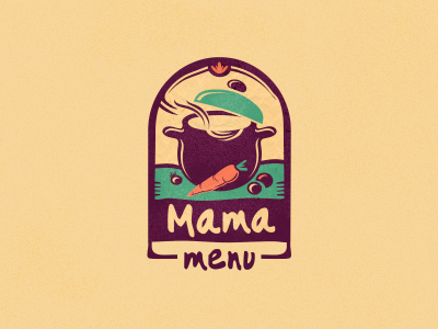 Mama Menu  #1 food delivery adline logo branding design brassai szende food pot cooking homemade traditional tasty menu mama vegetables soup hot warm fresh wholesome multi-cultural international logo design