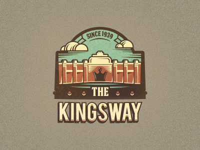 The Kingsway  #1 logo design adline logo branding brassai szende king building movie film canada toronto old retro vintage cloud clouds badges designer badge emblem crown theatre spot image color palette logo designer theater