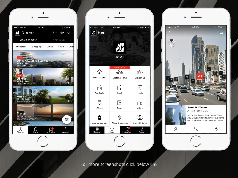 Aldar Properties mobile app design ui ux hybrid app
