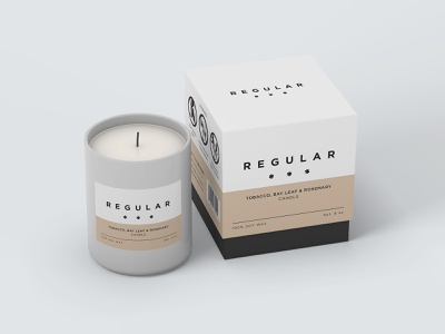 Regular Candle Label & Packaging modern design layout typography candle packaging label packaging label design packaging design packaging
