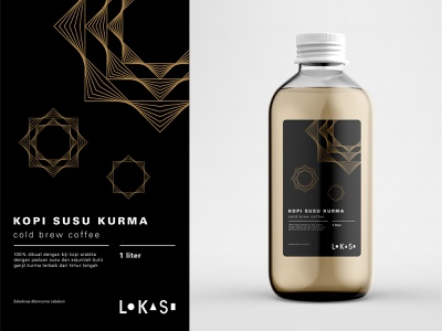 Kopi Susu Kurma Label Design modern design grid layout typography label packaging label design islamic geometric idul fitri eid al fitr eid mubarak packaging