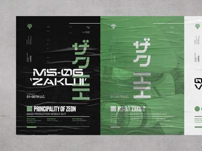 MS-06 Zaku II grid design mecha gundam modern abstract geometric poster layout typography