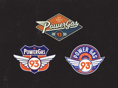 Powergas 93 Logo logo design motorcycle badge badge vintage badge badge logo badge design typogaphy logo