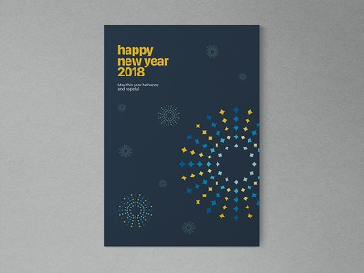 Happy New Year typography firework abstract poster
