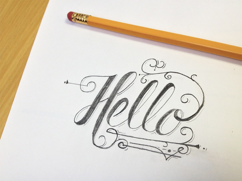 Hello Love sketch type typography drawing pencil design hello greeting