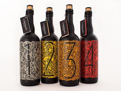 Luminary Quarter luminary quarter beer labels design sketch numbers lettering bottles group final