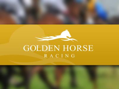 Golden horse racing logo
