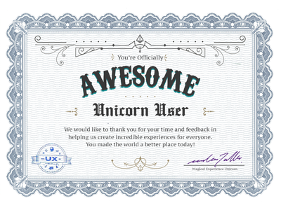 Users\' Awesomeness Certificate by UXBERT Labs - Dribbble