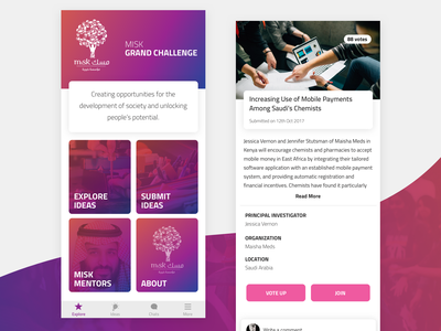 Ideas Challenge App gradient iphone ios app ksa saudi design ux ui