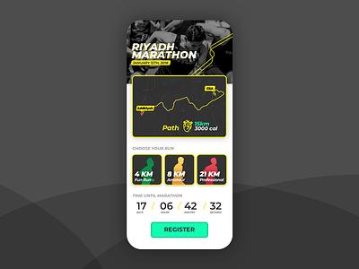 Marathon App Design fitness running run sports marathon visual design riyadh iphone user experience ios ksa app usability saudi design ui ux