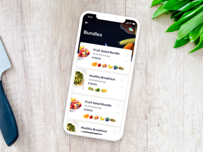 Healthy Bundles - delivery app salad healthy kitchen iphone x ios vegetables fruites farm app delivery