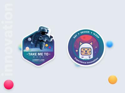 We love stickers gradient moon astronaut space cat fun innovation uxbert stickers