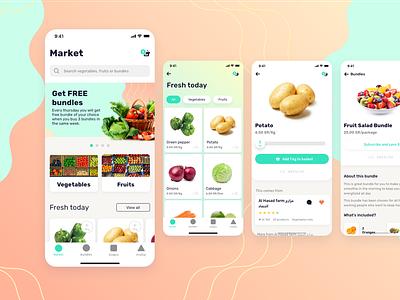 Fruits and Vegetables delivery app cart buy market fruits vegetables farm iphone ux ui design ui