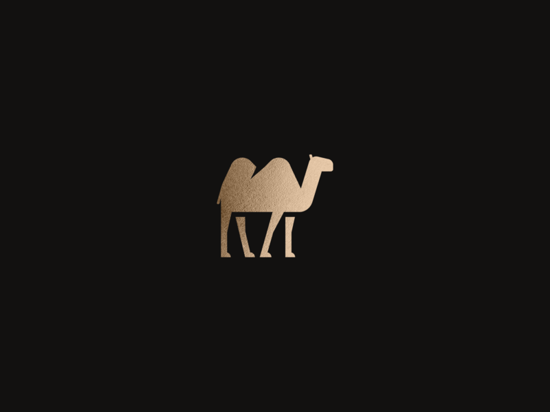 Camel logo icon illustration design branding gold negative vector sygnet camel mark logo