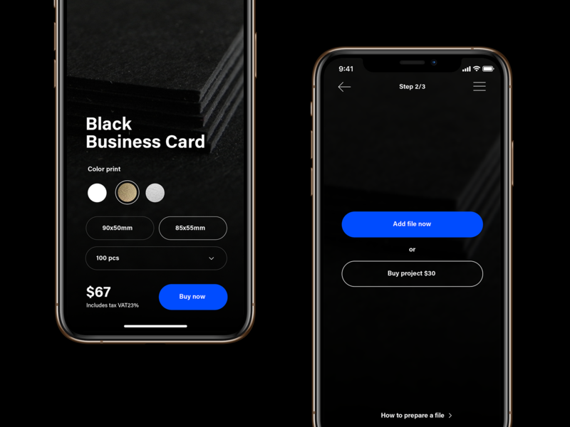 Printing house App/Web business card blue ux design apple dark ui dark app dark mode dark theme dark black select ecommerce printing uxui ui ux app mobile