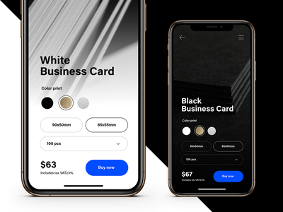 Printer House Concept dark price select silver gold business card mobile web app vs blue design ecommerce uxui ui ux black white light dark mode