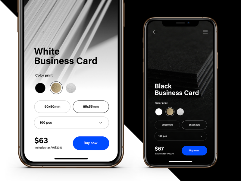 Printer House Concept dark price select silver gold business card mobile web app vs blue design ecommerce uxui ui ux black white light dark mode