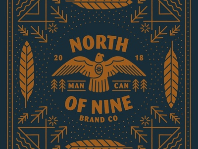 North of Nine - Bandana traveling camping bird eagle vintage merch clothing design bandana