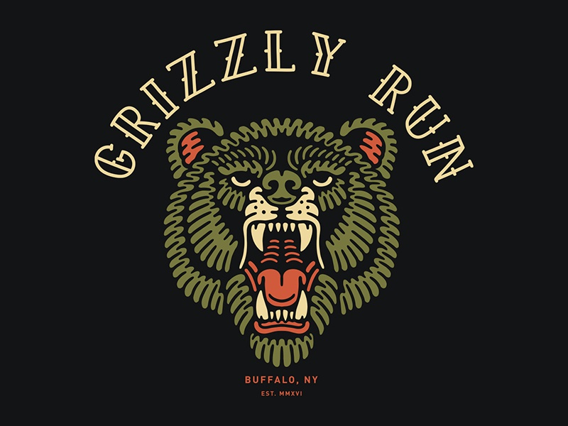 Grizzly Run buffalo artwork vintage grizzly bear bear illustration bear logo grizzly bear illustration apparel band merch