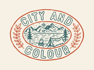 City And Colour badge apparel band illustration mountain patch nature scout camping camp city and colour