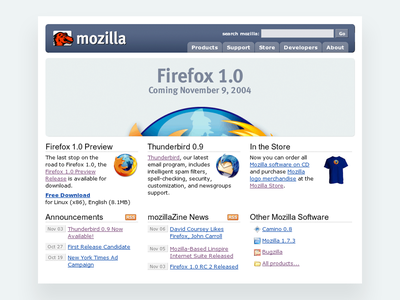 Mozilla and Firefox: 2004 marketing web design logo browser