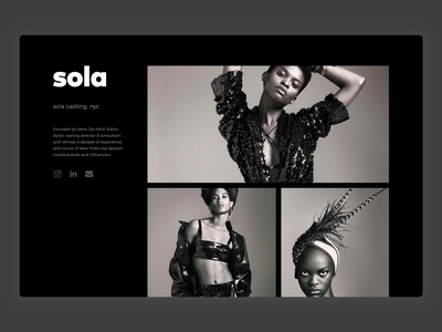 Sola Casting fashion branding marketing site