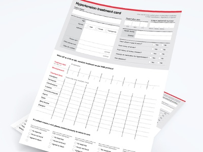 Hypertension treatment cards medical paper forms