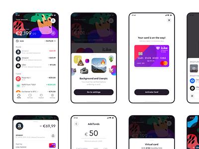 iLike — Banking App mobile app bankingapp logo ux ui minimal flat design