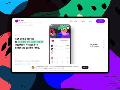 iLike — Mobile Banking Website logo mobile app bankingapp website web ux ui minimal flat design
