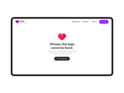 iLike — 404 404 page 404 mobile app logo bankingapp website web ux ui minimal flat design