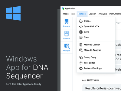 Windows App for DNA Sequencer sequencer medical app dna windows windows app uidesign minimal flat ui design