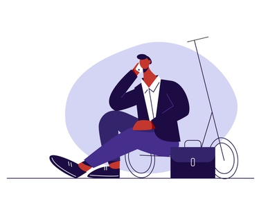 stop traffic people traffic stop rest scooter smartphone telephone busy man business art minimal flat character adobe illustrator vector illustration