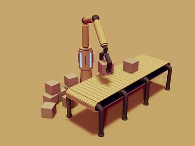 Sorting robot delivery branding motion graphics 3d ui web design illustrator design vector illustration