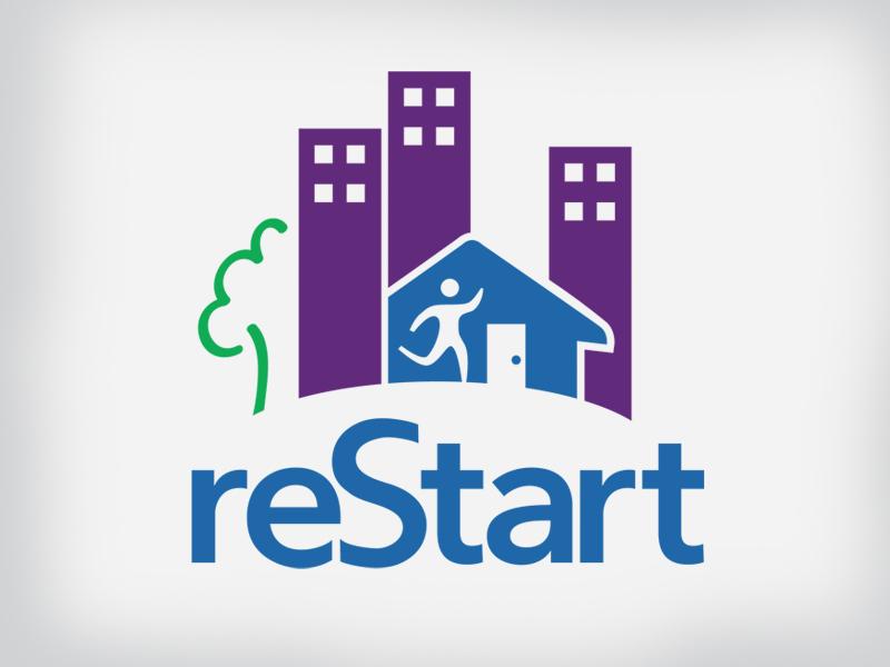 reStart rebrand logo not-for-profit branding homeless shelter