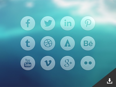 Round Transparent Social Media Icons (Psd) icons free social media psd transparent circle round facebook twitter pinterest behance dribbble