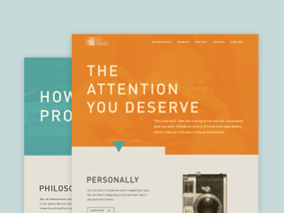 Homepage Design Round 3 - Full View website web design interactive ui typography orange turquoise blue large photos grid boxes