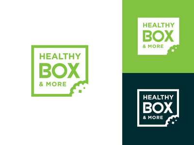 Healthy Box Logo  logo green box food type typography design icon brand branding fresh healthy