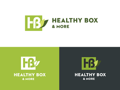 Healthy Box Logo V. 2 logo green box food type typography design icon branding fresh healthy leaves