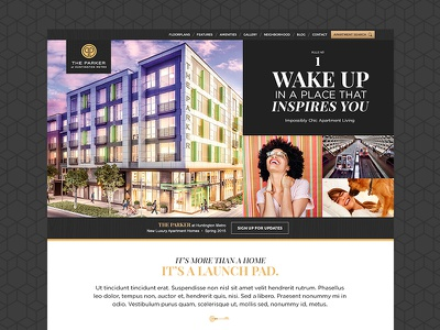 The Parker - Website Design website real estate ui ux web design layout grid black bold typography